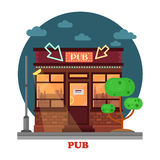 Side street view on night pub with aclohol Stock Image
