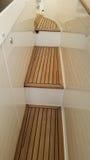 Side teak deck steps royalty free stock photos