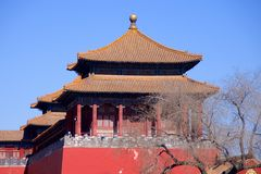 A Side Tower Along The Upright Gate Leading From Tiananmen Square Into The Forbidden City In Beijing, China Stock Images