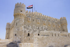 Side and towers of the Citadel of Qaitbay Stock Photo