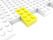 Side of toy bricks rows. In backgrounds Stock Photo