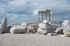 Side, Turkey. Image shows the Apollo-Temple of Side, Turkey. In the front some small stones, some ruins in the middle. Sky is cloudy Stock Image