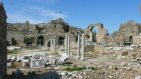Side Turkey archeology. Old ruins in Side, Turkey at sunset - archeology background stock video