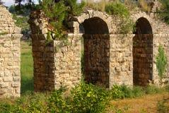 SIDE, TURKEY - June, 2014: Roman aqueduct near Manavgat Royalty Free Stock Images