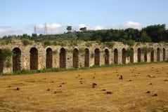 SIDE, TURKEY - June, 2014: Roman aqueduct near Manavgat Royalty Free Stock Photos