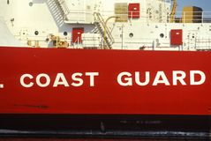 Side of United States Coast Guard Ship, Boston Harbor, Massachusetts Stock Photos