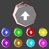This side up sign icon. Fragile package symbol.Set. Colourful buttons. Hand cursor pointer Vector illustration Stock Photos