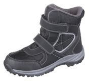 Side upper view of black and grey leather and textile water resi. Stant winter insulated male high boot with velcro clasp and fleece insulation, isolated on Royalty Free Stock Images