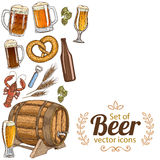 Side vertical border with beer icons Royalty Free Stock Photography