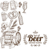 Side vertical border with beer icons Stock Photo