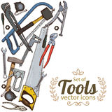 Side vertical border with repair tools icons Stock Photos