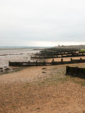 Side vertical shot of sea groynes and pebble beach empty royalty free stock image