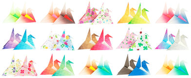 Side view of 30 origami birds. Side view of 30 paper cranes isolated on a white background Stock Photos