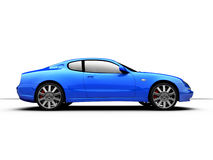 Side View of a 3D rendered Sports Car. Profile of a blue sports car Royalty Free Stock Photo