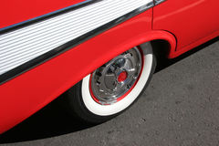 Side view of a '57 Chevy. With two-tone red and white Stock Photos