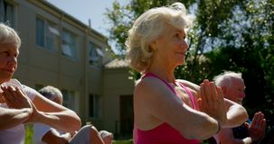 Side view of active mixed-race senior people performing yoga in the garden of nursing home 4k. Side view of active mixed-race senior people performing yoga in stock video footage