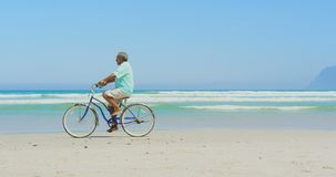 Side view of active senior African American man riding bicycle on beach in the sunshine 4k. Side view of active senior African American man riding bicycle on stock video