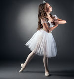 Side view of adorable little ballerina posing stock photography