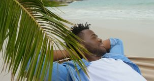 Side view of African american man relaxing in a hammock on the beach 4k. Side view of African american man relaxing in a hammock on the beach. He is smiling and stock video