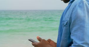 Side view of African American man using mobile phone on the beach 4k. Side view of African American man using mobile phone on the beach. He is standing on the stock video