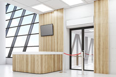 Side view of an airport lobby. Side view of an airport waiting room with a desk, a TV set, a door and a rope. Concept of travelling. 3d rendering. Mock up Royalty Free Stock Photography