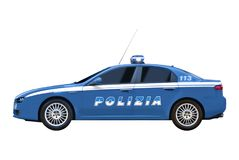Side view of the Alfa Romeo 159, in the setting up of the Italian Police. Illustrative editorial. royalty free stock photo