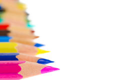 Side view of aligned coloring crayons isolated Stock Photography
