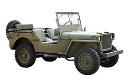 Old American military vehicle. Side view of American four-wheel drive military utility vehicle that were manufactured during World War II royalty free stock images
