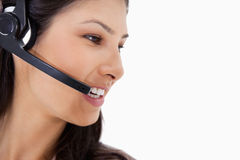 Side view of angry call center agent Stock Images