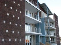 Side view of apartments. A side view of modern apartments that students live in royalty free stock photo