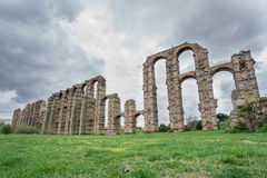Side view of Aqueduct of the Miracles in Merida. Wide angle view of Aqueduct of the Miracles in Merida, Spain Royalty Free Stock Image
