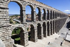 Side view of the aqueduct of Segovia Royalty Free Stock Photography