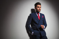 Side view of an arrogant stilish man. In suit and tie posing in studio, looking to a side Royalty Free Stock Photography