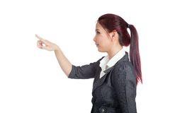 Side view of Asian business woman touching the scr Stock Images