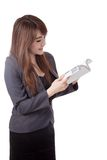 Side view of Asian businesswoman stand reading a book Stock Photos
