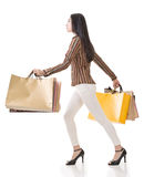 Side view of Asian shopping woman Stock Photography
