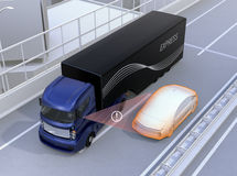 Side view assist system avoid car accident when changing lane Royalty Free Stock Photos