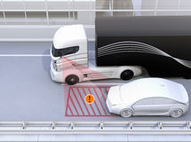 Side view assist system avoid car accident when changing lane Royalty Free Stock Image