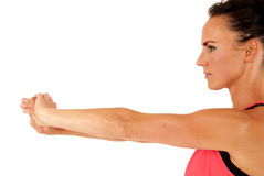 Side view of attractive woman stretching arms out Stock Photo