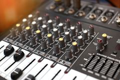Closeup of an audio sound mixer. Royalty Free Stock Photo