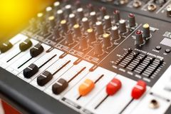 Closeup of an audio sound mixer. Stock Photography
