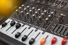 Closeup of an audio sound mixer. Stock Photo