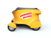 Side view of autonomous delivery robot car. Hamburger delivery text on the side of robot car Royalty Free Stock Photos