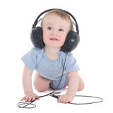Side view of baby boy toddler with earphones isolated on white Royalty Free Stock Photography