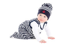 Side view of baby boy toddler in sailor clothes isolated on whit Royalty Free Stock Image