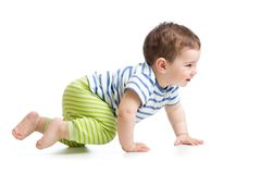 Side view of baby crawling isolated on white royalty free stock image