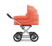 Side view of baby stroller. For boy. 3d rendering. Royalty Free Stock Photos