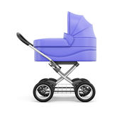 Side view of baby stroller  on white background. 3d rend Royalty Free Stock Photos