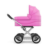 Side view of baby stroller on a white background. 3d rendering.  Stock Image