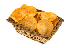 Side View Of Barbecue Chips In A Wicker Basket Stock Image